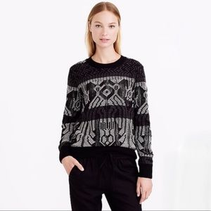 J. Crew Mixed Stitch Blanket Sweater Black Wool